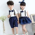 Children costumes models short-sleeved overalls Students chorus clothing School uniforms Stage performance clothing