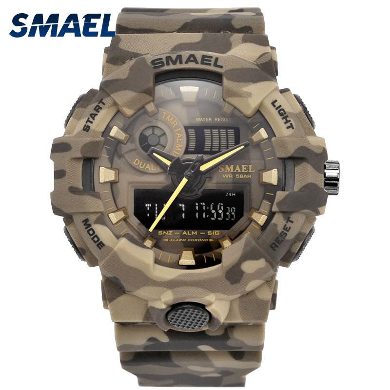 58715069eb39 Nuevo camuflaje militar reloj SMAEL de deporte de marca de relojes de  cuarzo LED reloj de deporte de los hombres reloj de pulsera 8001 hombres  del ejército ...