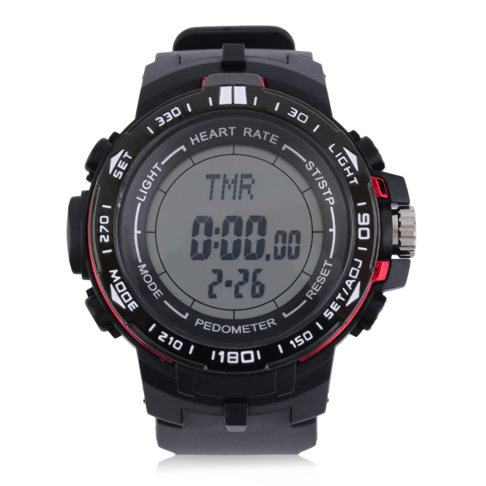 Men digital watch Heart Rate Monitor With Pedometer Calories Counter 3D Fitness Sport Watch 5 colors