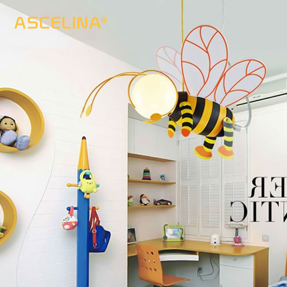 ASCELINA Pendant Lamp Bee Cartoon Pendant Light Lampshade Modern Creativity Lighting Night Lights For Children Bedrooms