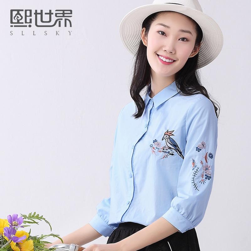 Marca sllsky tres cuartos blusa mujeres de la camisa de algodón 100% 2017 del ve