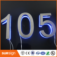 Modern LED House Number 9 & Apartment LED Numbers and company name size H150MM(Custom) number 9