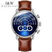 Carnival Big Dial Waterproof Watch Men Sapphire Silver Stainless Stell Quartz Blue Stop Watch Wristwatch Relogio