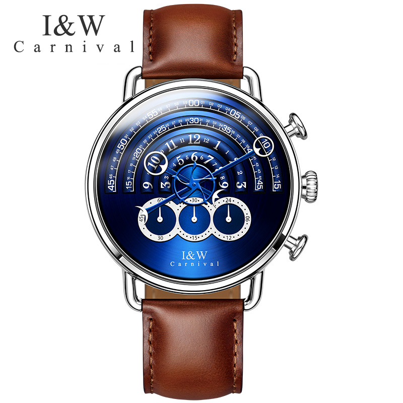 Carnival big dial Waterproof watch men Sapphire silver stainless stell quartz blue Stop watch wristwatch relogio masculino