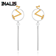 INALIS New Long Drop Earrings 925 Sterling Silver Micro Paved Yellow Tiny CZ Crystal Words Tassel Dangle Brincos for Women inalis new delicate cute drop earrings 925 sterling silver long chian with angle dangle brincos red clear cz fine jewelry girl