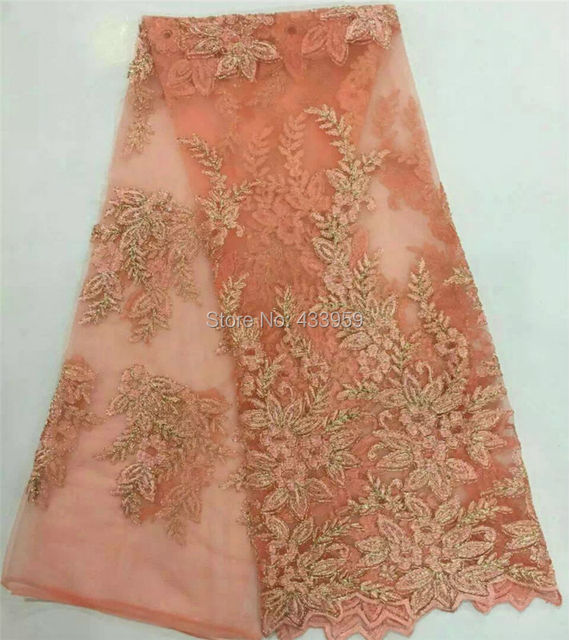A3A3 Cheap Price Free shipping! Latest Dubai Lace Peach Color High Quality  African Tulle french Lace Fabric With Gold Thread bd83aa1c561f