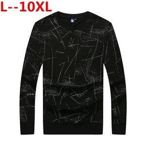Gran tamaño 10XL 8XL 6XL camiseta Hommes 2018 algodón o-cuello Slim camisetas de hombre moda hueca camisetas de manga larga de talla grande