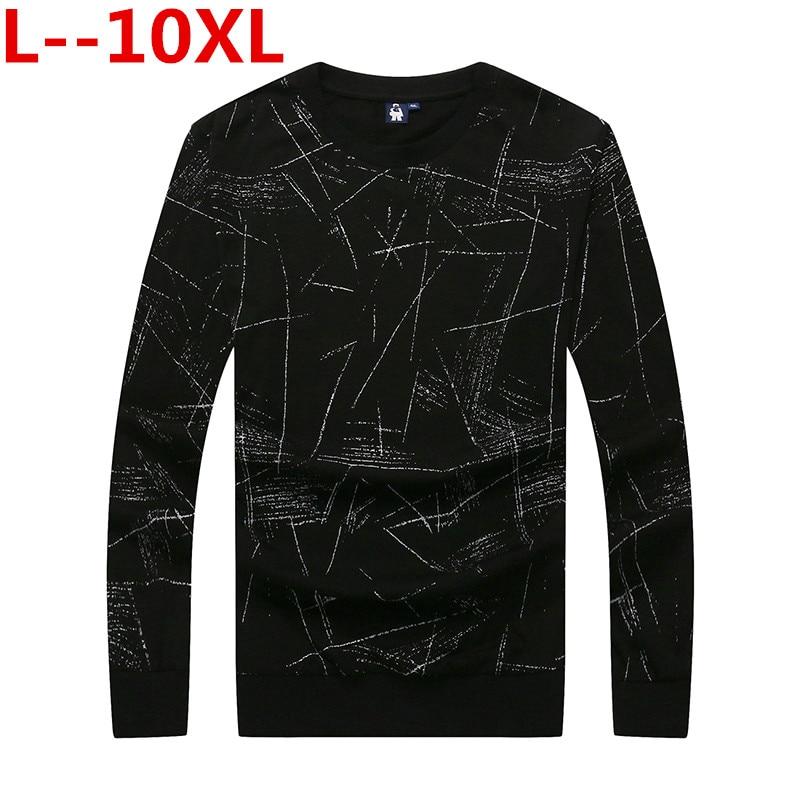 Grande taille 10XL 8XL 6XL T-Shirt Hommes 2018 coton o-cou Slim t-shirts Hommes t-shirts creux mode t-shirts à manches longues grande taille