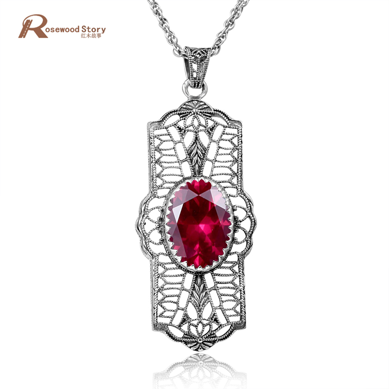 New Fashion Luxury Necklaces & Pendants Red Ruby Real 925 Sterling Silver Statement Necklace Wedding Jewelry 100% Handmade