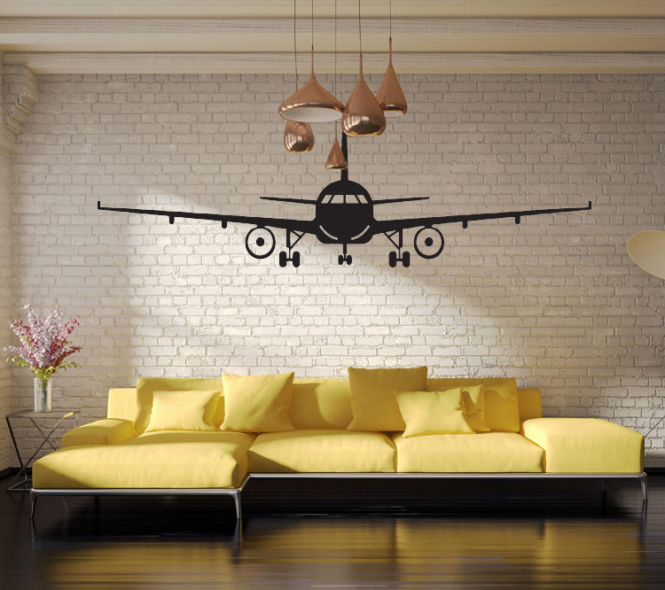 Us 4 23 Black Airplane Wall Art Mural Decor Sticker Boys Kids Room Wallpaper Decal Poster Transfer Wall Graphic Wall Applique In Wall Stickers From