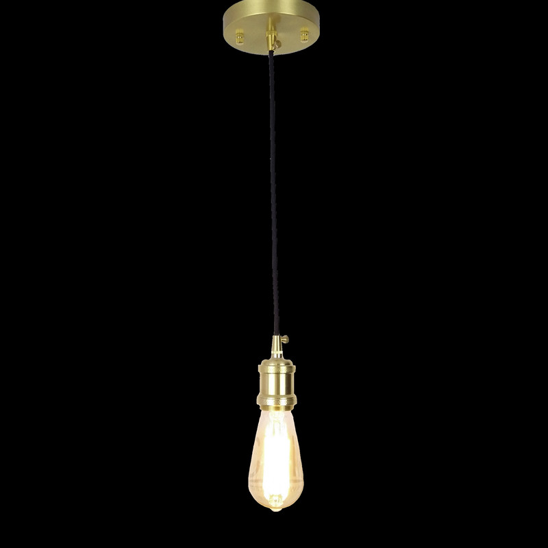 E27 brass socket with black fabric wire and ceiling mount copper material pendant lamp 110V 220V simple single arm hanging light new bullet head bobbin holder with ceramic tube tip protecting lines brass copper material