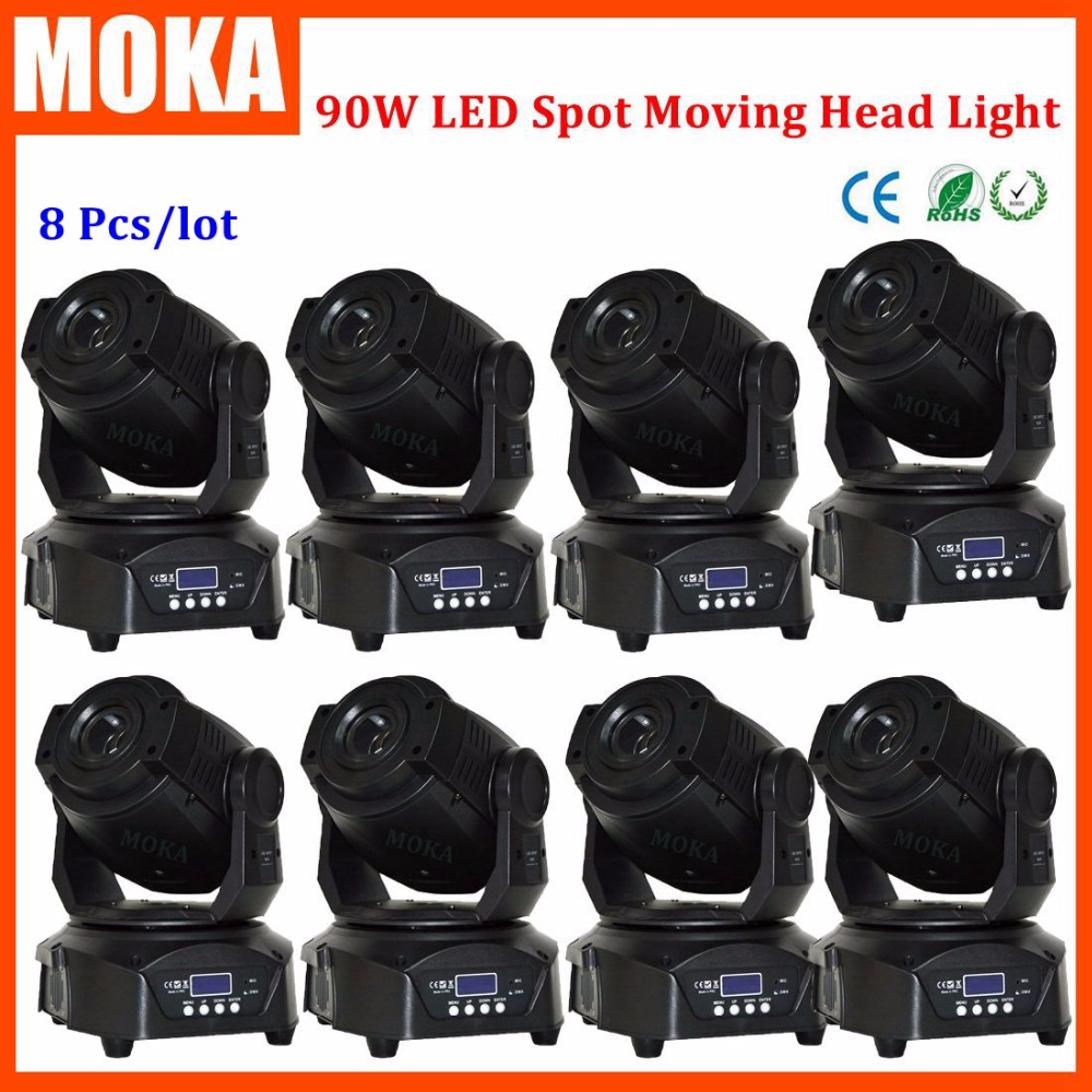 8PCS/LOT 90W Led Spot Moving Head Stage Lighting Effect DMX Rainbow Gobo Effect Lights Bar Dj Led Projector led 30w spot moving head lights party disco dj stage lighting 30w mini gobo projector dmx stage effect light led pattern lamps