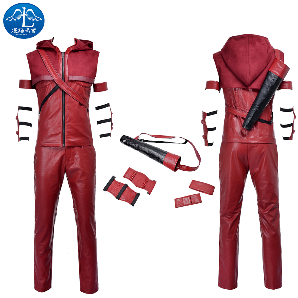 ManLuYunXiao Red Arrow Costume Roy Harper Cosplay Costume Halloween Men Full Set Red Leather Suit Custom Made Free Shipping