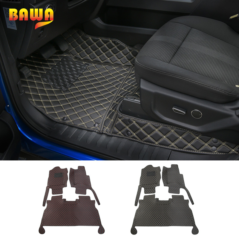 HANGUP 2 Color Car Floor Foot Mats Pads Carpet Interior Stickers Fit For Ford F150 2015 Up Car Styling цена