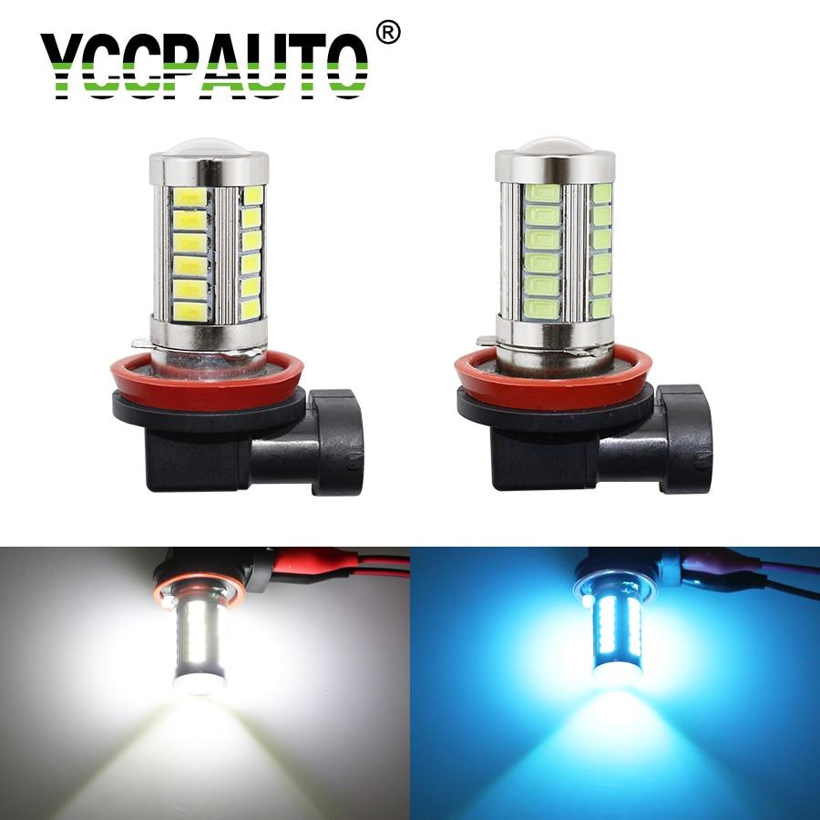 YCCPAUTO H11/H8 светодиодный противотуманный светильник s супер яркий 5630 33 SMD DC12V автомобильный белый/Ледяной Синий ДХО лампа светодиодный светиль...