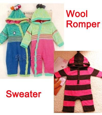 Новорожденные младенцы свитер ползунки младенческой зима одежда полоска свитеры одежда