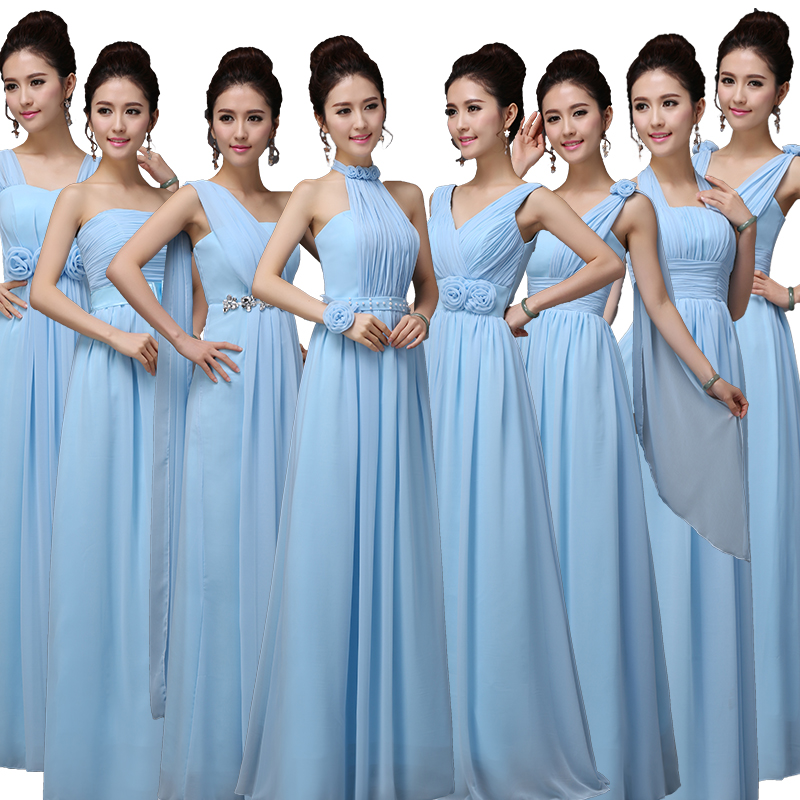 Wedding guest   dress   hot chiffon diamonds A Line 8 style sky blue Junior   bridesmaid     dresses   long vestido madrinha