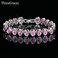 Romantic Love Jewelry Gift Setting Pink White Simulated Topaz CZ Crystal Big Tennis Bracelet Bangles For Ladies BR91