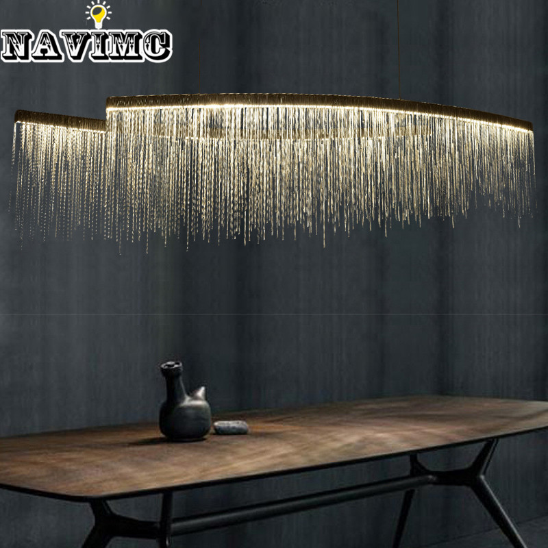 Modern Aluminum Chain Meteor Shower led Pendant Light for Hotel Hall Restaurant Dining Room Silver Creative Hanging Pendant Lamp french aluminum chain pendant light fixture empire vintage hanging suspension lustre chain pendant lamp drop light for hotel