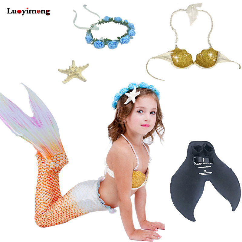 New 5pcs/set Children Girls Mermaid Tails Swimming Suit With Monofin Swimmable Kids Cosplay Prinecess Costume Bathing Clothes kids mermaid tail with monofin swimmable filpper costume for girls lady mermaid tails cosplay the little mermaid child clothes