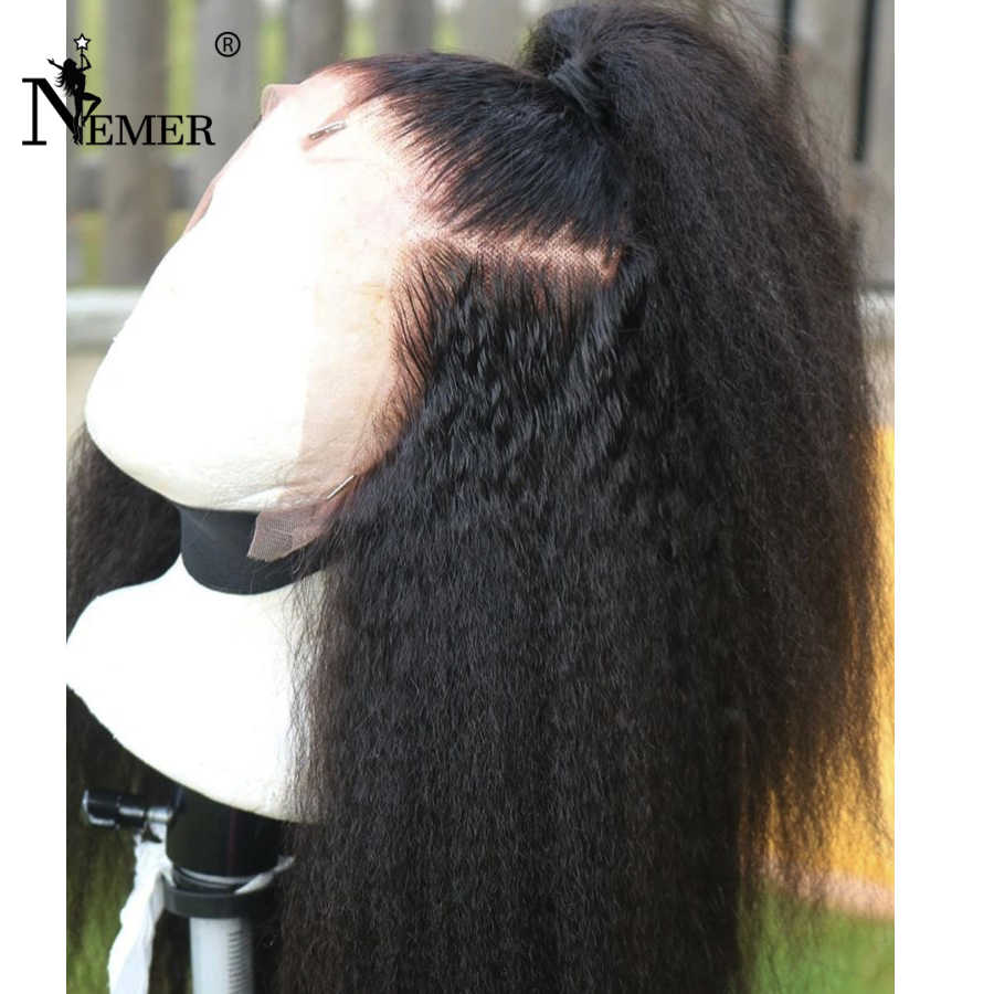 NEMER, 360, парик с кружевом, с волосами младенца, перуанские человеческие волосы, парики, кудрявые, прямые, натуральный, черный цвет, для женщин, Remy