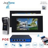 7 ''сенсорный экран беспроводной Wi Fi IP телефон видео домофон дверные звонки квартира система контроля доступа обнаружения движения 1 до 2 POE