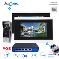 7'' Touch Screen Wireless WIFI IP Video Door Phone Intercom Doorbell Apartment Access Control System Motion Detection 1 to 2 POE