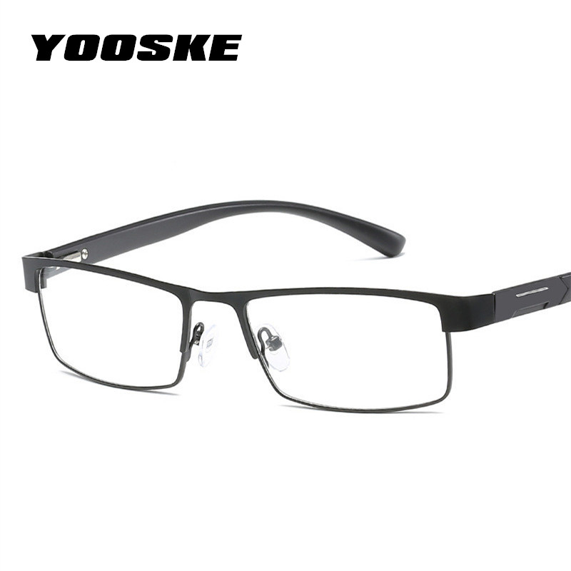 5dd75b3294 YOOSKE Titanium alloy Reading Glasses Men Metal Frame Farsightedness  Prescription Eyeglasses +1.0 +1.5 +