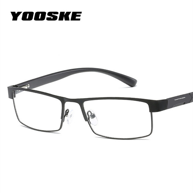 YOOSKE Titanium alloy Reading Glasses Men Metal Frame Farsightedness Prescription Eyeglasses +1.0 +1.5 +2.0 +2.5 +3.0 +3.5 +4.0