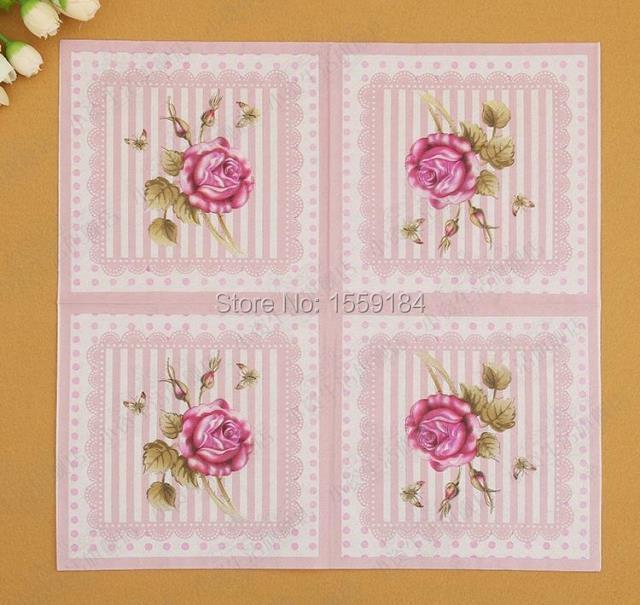Free Shipping 400pcs 33cm*33cm Pink Rose Paper Napkins Festive ...