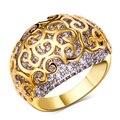 2 Tone 18 k oro y platino plateado anillo con diseño hueco Pave AAA configuración Cubic Zirconia anillo moda para mujer viento metal sin plomo