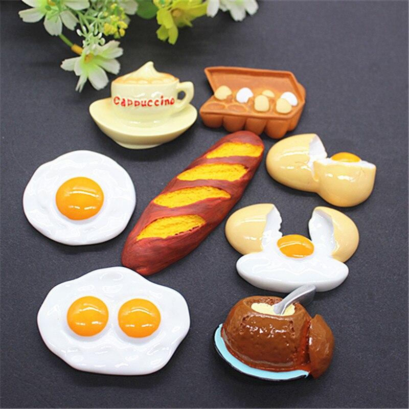 8Pieces/Set Kawaii Fake Poached Egg/Cappuccino/French Bread Resin Imitation Food Art Flatback Cabochon DIY Craft Decoration
