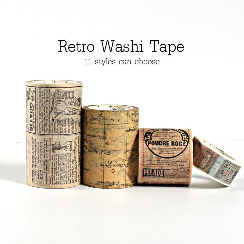 Retro Creative Washi Tape Vintage Decoration Scrapbooking Masking Tape Bullet Journal Decoration Stickers DIY