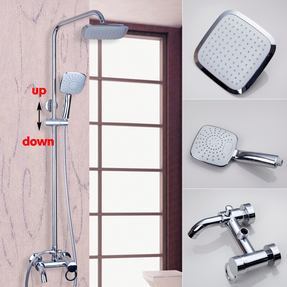 Bathroom Polished Chrome Faucet 8 Rain Shower Faucet Wall Mounted Shower Set Mixer Tap Swivel Tub Mixer W/Hand Shower chrome polished rainfall solid brass shower bath thermostatic shower faucet set mixer tap with double hand sprayer wall mounted