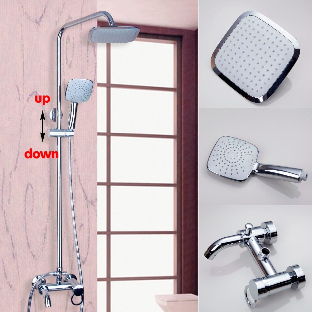 Bathroom Polished Chrome Faucet 8 Rain Shower Faucet Wall Mounted Shower Set Mixer Tap Swivel Tub Mixer W/Hand Shower