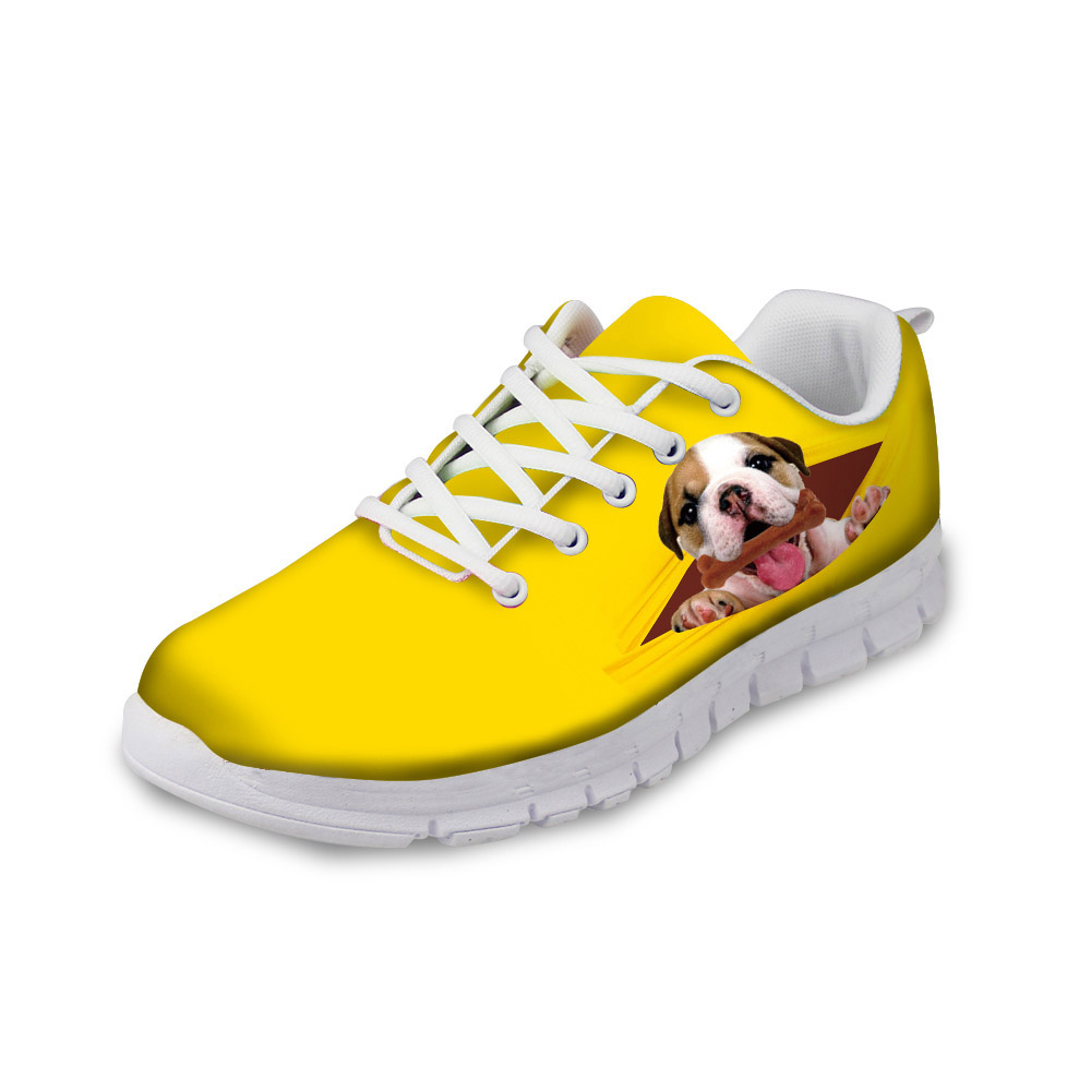 NOISYDESIGNS Cute Pug Dog Yelllow Casual Shoes Woman 2018 New Autumn Flat Shoes for Women Lace up Breathable Leisure Shoes flat