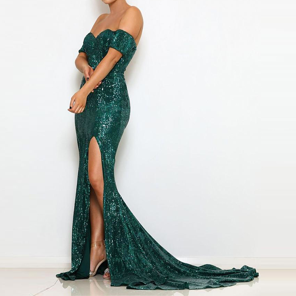 Green Wedding Party Dress Off The Shoulder Silver Sequined Formal Evening Dress Backless Split Leg Floor Length Slash Neck