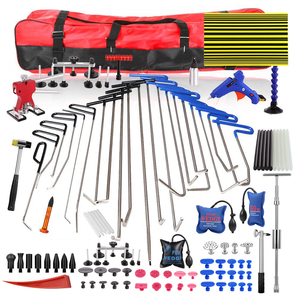 PDR Auto Body Rods Paintless Dent Repair Kits Hail Ding Removal Wedge Hook Dent Hammer Gule Gun PDR Line Board Puller Tabs tools whdz pdr auto body paintless dent removal repair tools kits bridge puller 2in1slide hammer glue puller automotive door ding dent