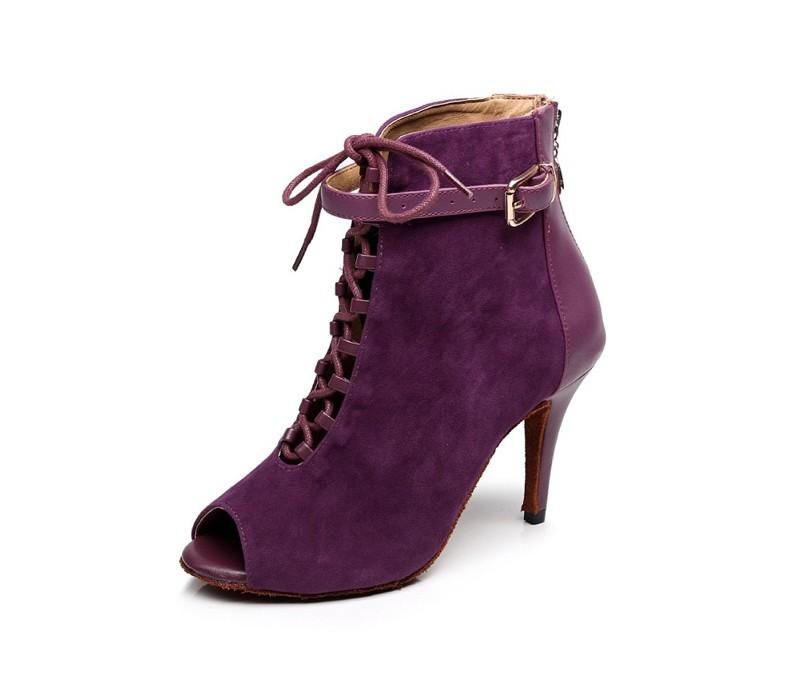 dileechi бренда черный женские, фиолетовый бат из естественной кожи костюмы для латиноамериканский десятки танцы сапоги обувь на высоком bloke партия PE на молнии на спине обувь