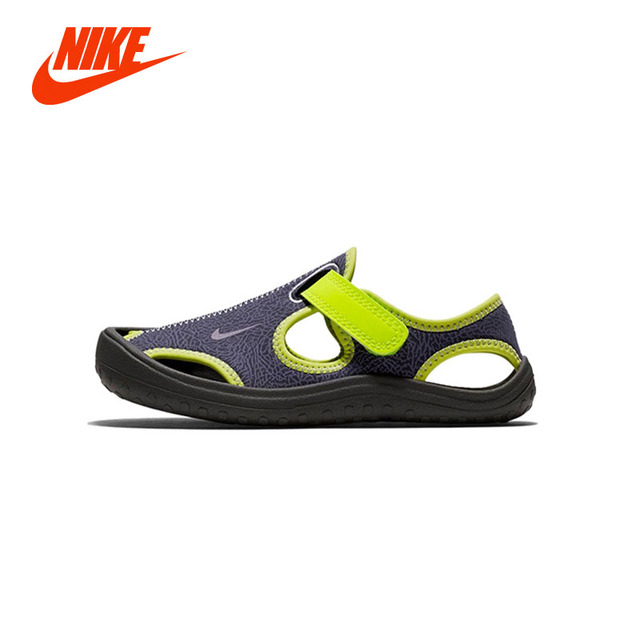 90a1d5e0870c38 Original NIKE Summer Children Boys Sandals Toe Cap Leather Kids Sandals  Textile Flag Casual Sport Sandals for Little Boys
