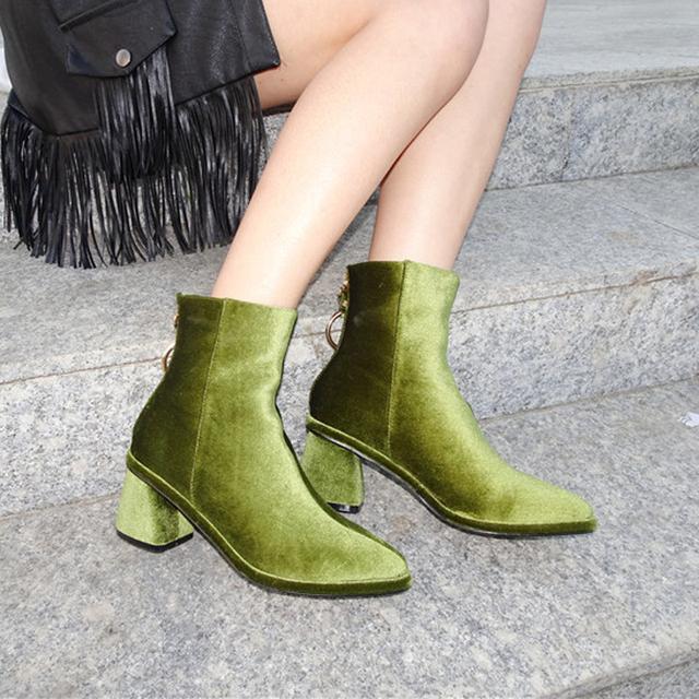 Teahoo Women Velvet Ankle Boots Black/Green/Brown Metal Ring Zipper Med Heels Shoes for Women Luxury Brand Design Boots Women