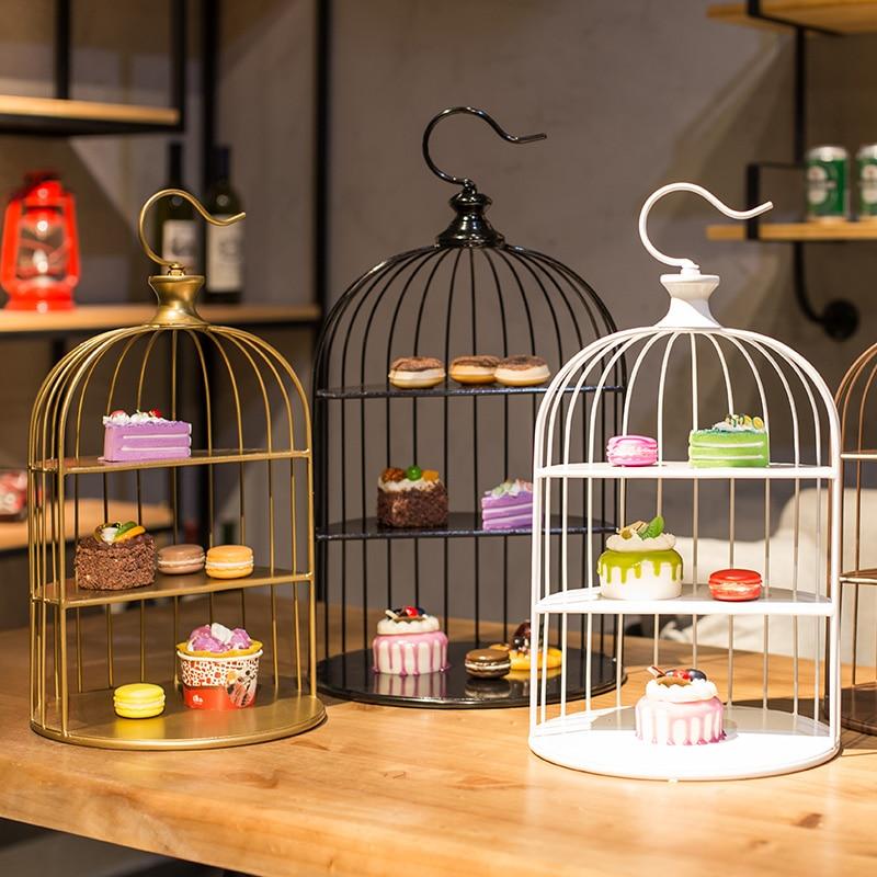 Or/blanc/noir européen cage à oiseaux gâteau rack décoration thème article mariage bonbons stand présentoir multi-couche froid alimentaire rack