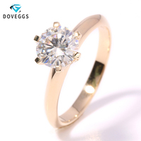 DovEggs Solitare Ring 14K 585 Yellow Gold 2ct 8mm F Color Hearts Arrows Cut Moissanite Diamond Engagement Ring for Women Wedding
