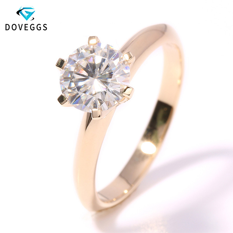DovEggs Solitare Ring 14K <font><b>585</b></font> Yellow Gold 2ct 8mm F Color Hearts Arrows Cut Moissanite Diamond Engagement Ring for Women Wedding image