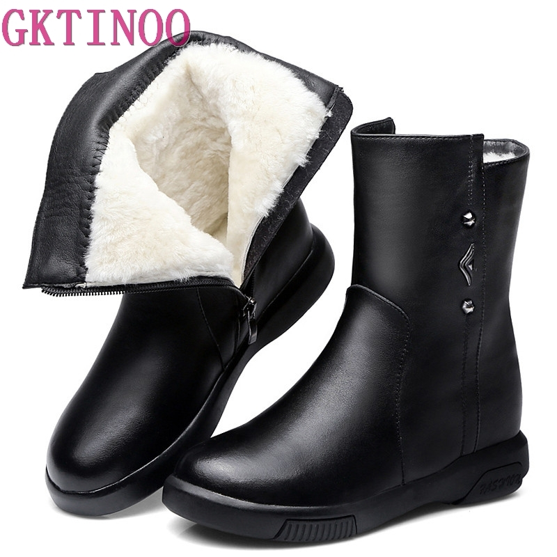 GKTINOO Winter Shoes Women Real Cowhide Leather Woman Shoes Flat Warm Natural Wool Snow Boots Platform