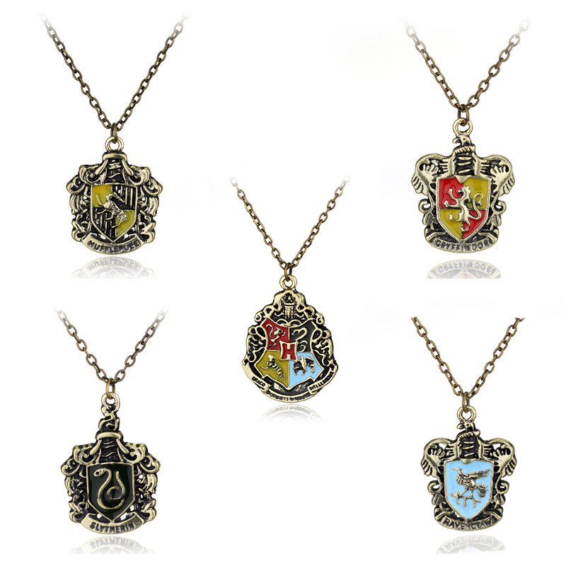 HP <font><b>Hogwarts</b></font> School Crest <font><b>Necklace</b></font> For Women Men Gryffindor Hufflepuff Ravenclaw Slytherin <font><b>Necklace</b></font> Pendant Jewelry image