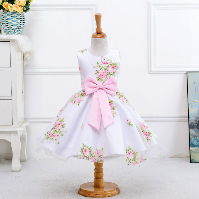 U-SWEAR 2019 New Arrival Kid   Flower     Girl     Dresses   O-neck Sleeveless   Flower   Print Bow Elegant Chiffon Ball Gown Vestidos