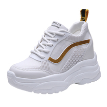 Daddy Shoes 9CM Platform Sneakers Women Gold New Lace Up Womens Woman Trainers Zapatos De Mujer