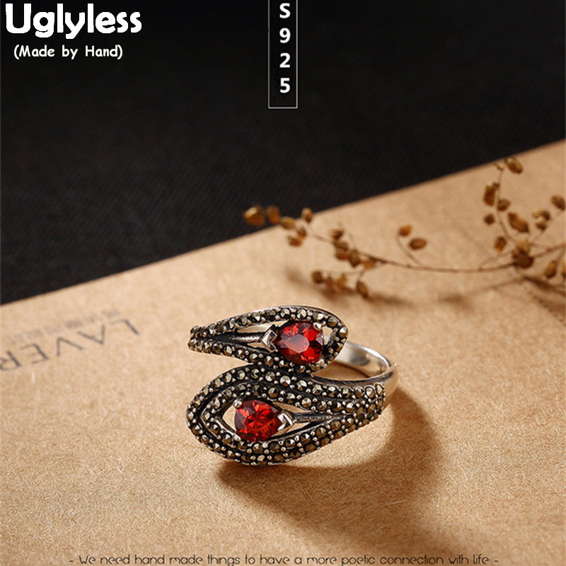Uglyless Real 925 Sterling Silver Jewelry Garnet Red Finger Rings for Women Vintage Marcasite Opening Ring Ethnic Bohemia Bijoux vintage pearl ring ancient real 925 sterling rings for women 2019 new fashion bohemia jewelry