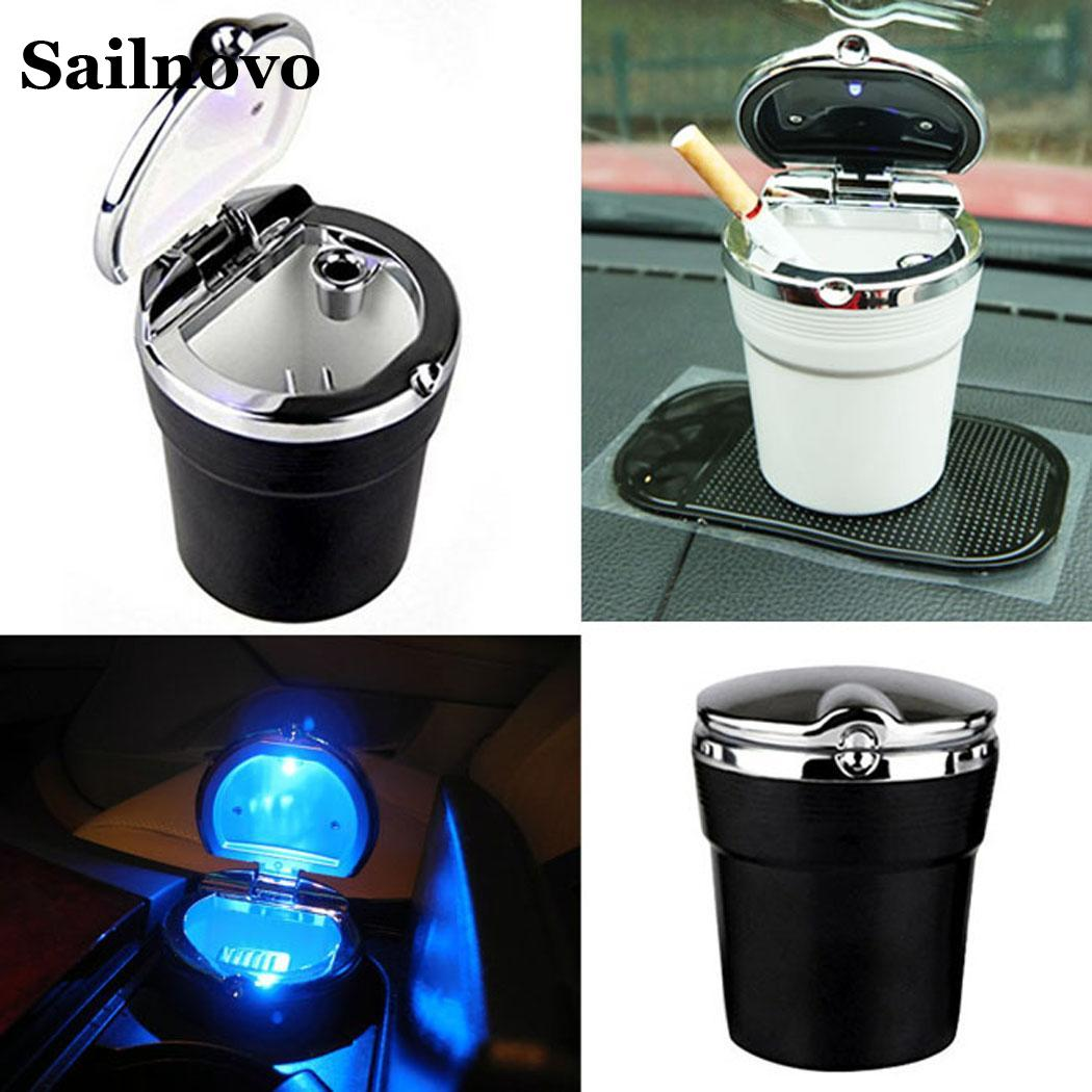 Car Ashtray with LED Light Cigarette Smoke Travel Remover Ash Cylinder Car Smokeless Smoke Cup Holder Storage Auto Accessories